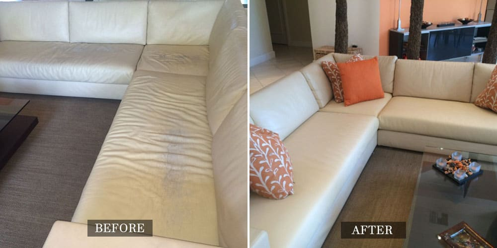 White Leather Sectional Repaired