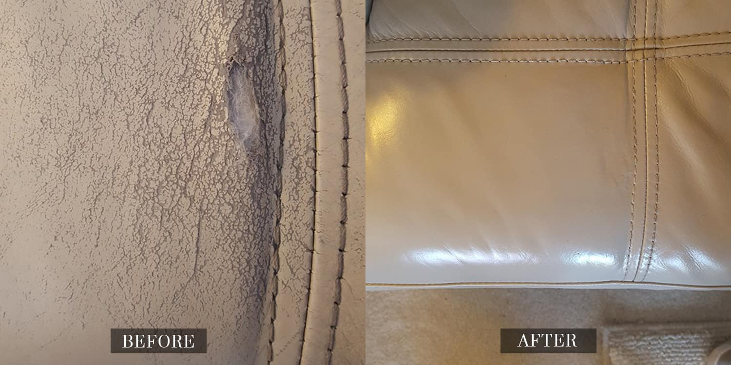 Extensively Worn Leather Repaired